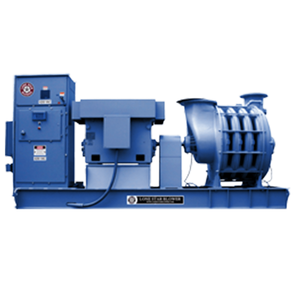 20,000 cfm at 13 psig. 1000 hp 4160/2300 volt blower with soft start and automated Alan Bradley PLC control of modulated inlet valve to regulate flow to user set points. All temperature, vibration monitoring of blower and motor. Inlet filter, check valve expansion joints. Add power and connect piping and you are back up and running.