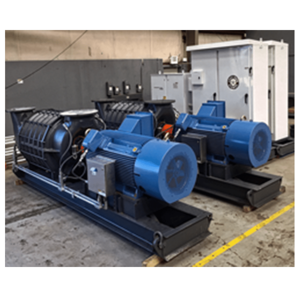 500 hp 9,000 cfm at 15 psi delta pressure. Rated to Class 1, Division 2 environments complete with instrumentation and matching 500 hp variable frequency with active controller with network connections.
